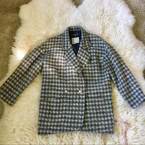 Chanel Vintage Houndstooth Wool blend Jacket 38
